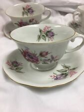 FAVOLINA~POLAND  (4) Coffee Cups & Saucers PINK ROSES GOLD RIM Est,Collection