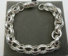 "8 1/2"" Solid Sterling Silver.925 Plain & Patterned Belcher Bracelet 30 grams"