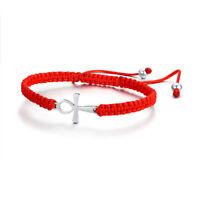 Braided Red String Kabbalah Lucky Rope Cord Women Girl Bracelet Ankh Cross Charm