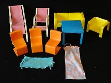 Vintage 11 Pc Lot of 1973 Barbie Dream House Furniture Couch Chairs Pink Chaise