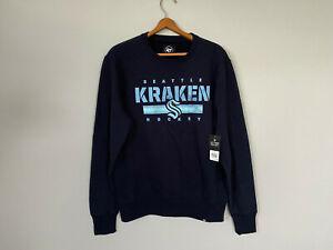 NEW Seattle Kraken '47 Navy Stencil Strip Headline Fleece Pullover Sweatshirt M