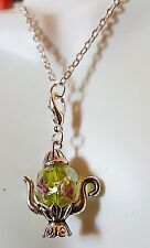 Tea Rose Murano Peridot Crystal Kettle Pot Pendant Sterling Silver Necklace 18""