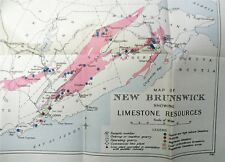 Map Canada Department Of Mines New Brunswick Showing Limestone Resources 1934