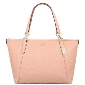 NWT Coach Ava Signature Embossed Leather Tote Nude Pink MSRP $425