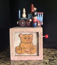 VINTAGE ENESCO BUILDING BLOX MUSIC BOX 1979 PLAY TOYLAND, TRAIN TEDDY BEAR