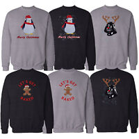 Mens Christmas Sweatshirt Novelty Xmas Top Penguin Gingerbread Darth Vader Print