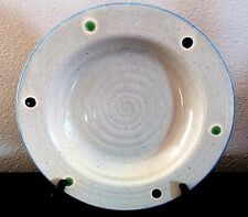 Mikasa Potter'sCraft Sonoma Pasta Bowl Blue/Green Dot Design Gray Rim Blue Trim