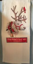 White Christmas Reindeer  Flour Sack Dish Tea Towel - Mary Lake Thompson