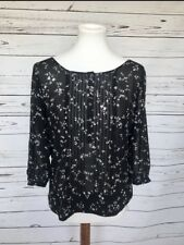 Philosophy Black Floral Blouse Womens Small
