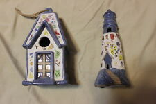 Ceramic Decorative Lighthouse and birdhouse Blue New Condition 9' tall