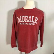 Comfort Colors Men Morale Defying Gravity Sweatshirt Top Size Small Red- C133