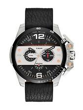 NWT Diesel Ironside Mens Chronograph Watch Black Dial Black Leather DZ4361