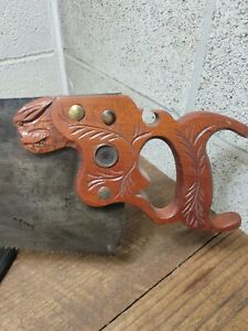 """K122- Antique Disston No. 7 28"""" Rip Hand Saw w/ Mimic User Made Panther Handle"""