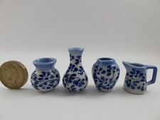 4pc Miniature Vase Jar Pot Ceramic set Dollhouse Vintage Furniture White Blue