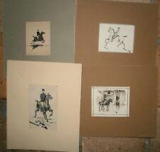 dessin ancien lot de 4 henri de martrin equitation gendarme cheval