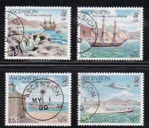 ASCENSION #257-260 USED LONDON 1980 INTL. STAMP EXHIB. (MAIL SHIPS & PLANE)