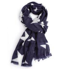Navy Blue White Star Scarf Stars Scarves Wrap Shawl Ladies Warm Bright Winter