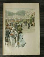 HO2) Farb-Holzschnitt 1885-1900 Bei Pupp i Karlsbad CZ Tschechien Häuser Kunst