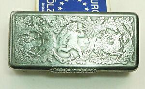 Charming Antique Snuffbox, Tobacco Tin Um ca.1800 Tin, Hunting Motive. (Z16)