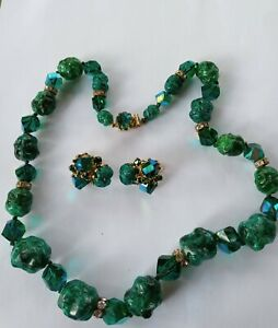 Vintage Signed Vogue Blue/Green Ab Necklace and Clip Earring Set