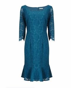 BNWT's 18 Jacques Vert Teal Turquoise Blue Lace Flute Hem 3/4 sleeve Dress £129