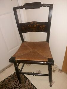 Antique Hitchcock Style Chair Rush Seat Stenciled Original Local Pickup or Ship