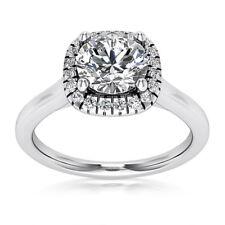 Halo Pave .75 Carat VS2/H Round Cut Diamond Engagement Ring White Gold