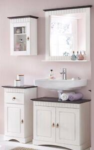 4 tlg Badmöbel Set aus Kiefernholz weiß braun Badschrank Badschränke