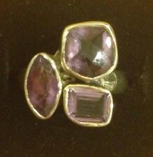 925 Sterling Silver and purple Amethyst Ring Size 7, approx. 7.03 grams