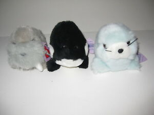 Puffkins Stuffed Animals by Swibco RARE Lot of 3 - dolphin whale walrus
