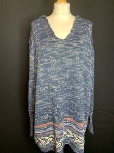 Joe Browns Ladies Cotton Blend Blue Marl  Hooded Jumper Size 28/30  5XL  (D4)