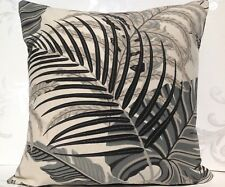 Sanderson Fabric Cushion Cover 'Manila' Charcoal/Cream Voyage of Discovery 16""