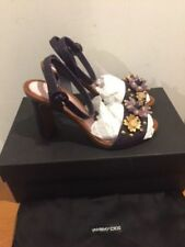 DOLCE & GABBANA Purple Manuela Embellished Leather Sandals UK 3, UK 6 RRP £695