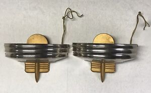 2 Rejuvenation Wall Sconces Lamp Light Fixtures Chrome Gold MCM Art Deco Style