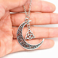 Celtic Triquetra Trinity Knot Pendant Silver Plated Long Chain Moon Necklace