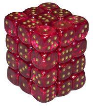 New Chessex 36 Piece 12mm 6 Sided Dice Set Magenta Borealis CHX27824