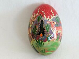 Vintage Hand Decorated Lacquered Wooden Egg. Deer & Fir Trees. Christmas. Treen.