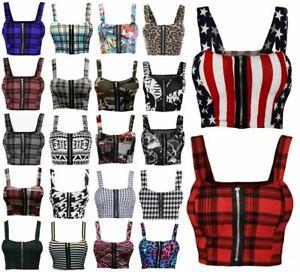 Womens Front Zip Bralet Padded Bra Ladies Sleeveless Strappy Printed Crop Top