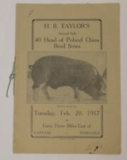 1917 Auction Catalog Taylor's Poland China Bred Sow Sale Pig Hog Farnam NEBRASKA