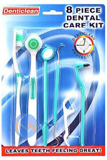 DENTICLEAN 8 PIECE DENTAL CARE KIT. Includes tounge cleaner, tooth picks, brush.
