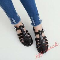 Womens Summer Beach Jelly Sandals Cut Out Flats Closed Toe Shoes T-strap Sandals