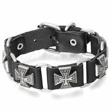 Men's Retro Punk Adjustable Leather Strap Bracelet Cross Cuff Bangle Wristband