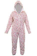 Girls Star Print Zip Front Comfy Children's Hooded All In One Sleepsuit Onsie