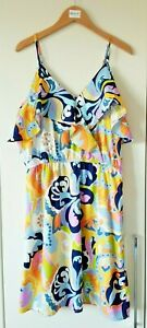 Pep & Co. Dress Size 12 Yellow Blue Multi Coloured Summer Casual Holiday Strappy