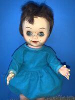 """Vintage Unique 12"""" Doll Girl Brunette Blue Eyes Freckles  Unmarked"""