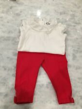 Janie and Jack Baby Girls 3-6 months ruffle white body suit and red bow leggings