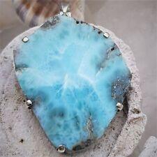 Larimar slice pendant, set in Stirling silver