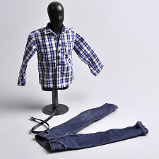 "1:6 ZY TOYS Youth Blue White Checker Box Shirt&Jeans Set For 12"" Action Figure"