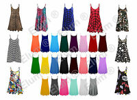 Womens Sleeveless Cami Swing Dress Floaty Flared Strappy Skater Long Top UK 8-26