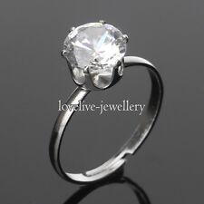 Adjustable Silver Zircon Crystal Wedding Bands Engagement Ring Valentine's Gift